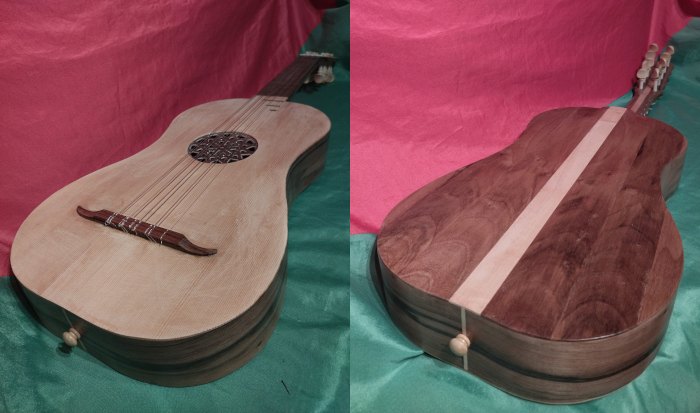 Front view of 2 baroque guitars.