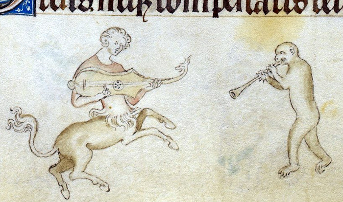 A centaur playing a from the 'Queen Mary Psalter' (England, 1310–1320).