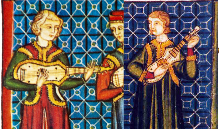Two of the citoles from the 'Cantigas de Santa Maria' (Spain, 1221–1284).