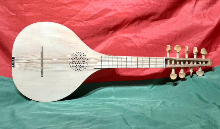 Alternative model with diatonic fretting. This also has 8 strings instead of the usual 9, and a rose inserted from behind instead of the standard version carved into the soundboard. Fingerboard is African Padauk.
