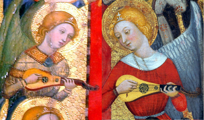 On the left, part of 'Retablo de Todos los Santos' (Spain, 1375). On the right, part of 'Virgin of the Angels' (Spain, 1385). Both by Pere Serra.