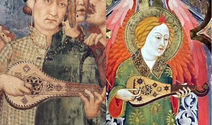 On the left, part of 'The Investiture of Saint Martin of Tours' by Simone Martini (Italy, 1318). On the right, part of an anonymous altar decoration (Spain, 1350).