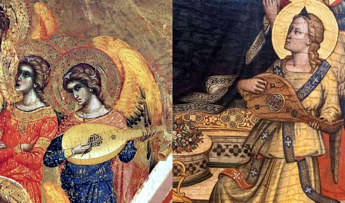On the left, part of 'The Coronation of the Virgin' by Paolo and Giovanni Veneziano (Italy, 1358). On the right, part of 'Madonna in Trono' by Niccolo di Pietro Gerini (Italy, 1395).