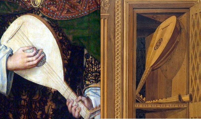 On the left, part of 'Maria Regina surrounded by angels' by an unknown painter (Netherlands, 1460). On the right, part of a design made in wood by Giuliano da Maiano (Italy, 1478).