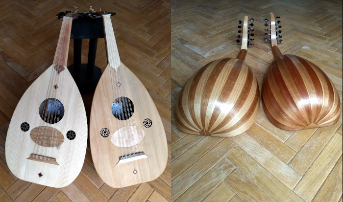 Front view of oud with fingerboard of European Ash.
