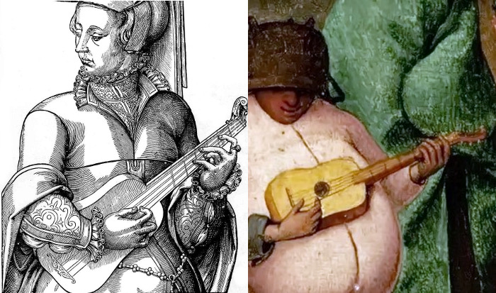 Left: An anonymous illustration (1570). Right: Part of 'The Fight between Carnival and Lent' by Pieter Bruegel the Elder (Netherlands, 1559).