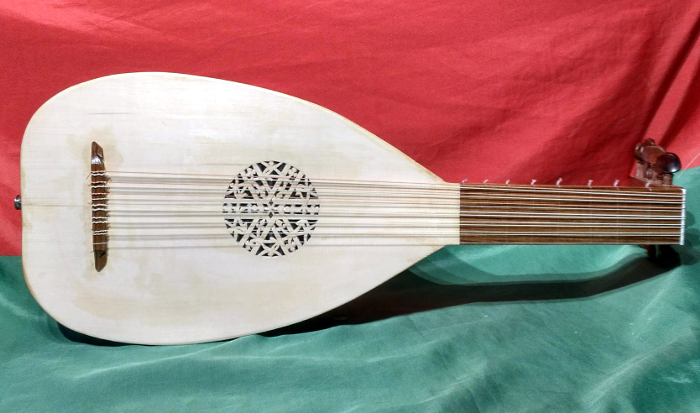 Front view of renaissance lute with fingerboard of European Ash and alternative rose design.
